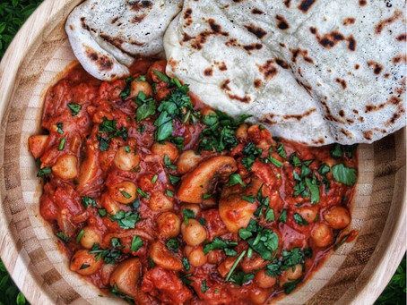 Moroccan Chickpeas with Flatbreads