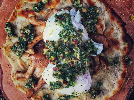 Gluten Free Flatbreads with Shiitake Mushrooms, Poached Duck Eggs and Parsley and Almond Pesto