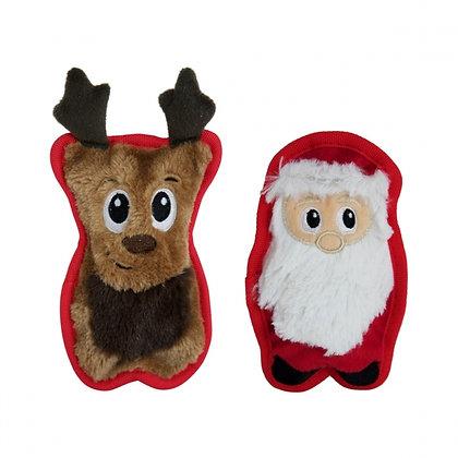 Invincibles Mini Reindeer and Santa Plush Dog Toys