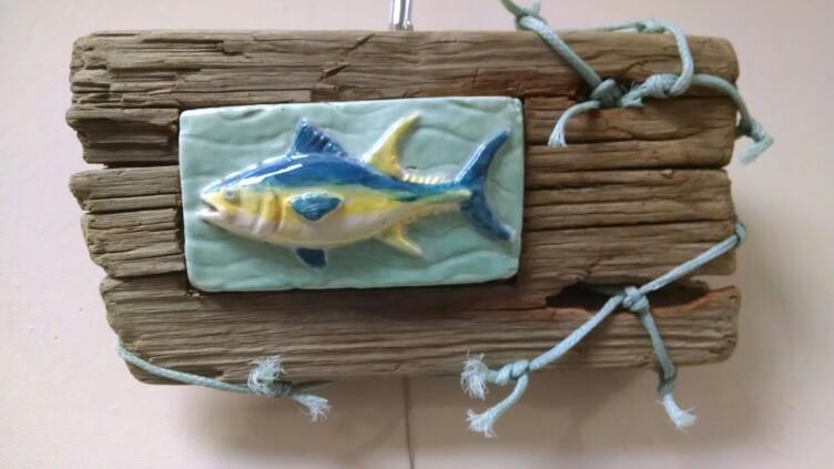 Ceramic Tuna with Salvaged Net