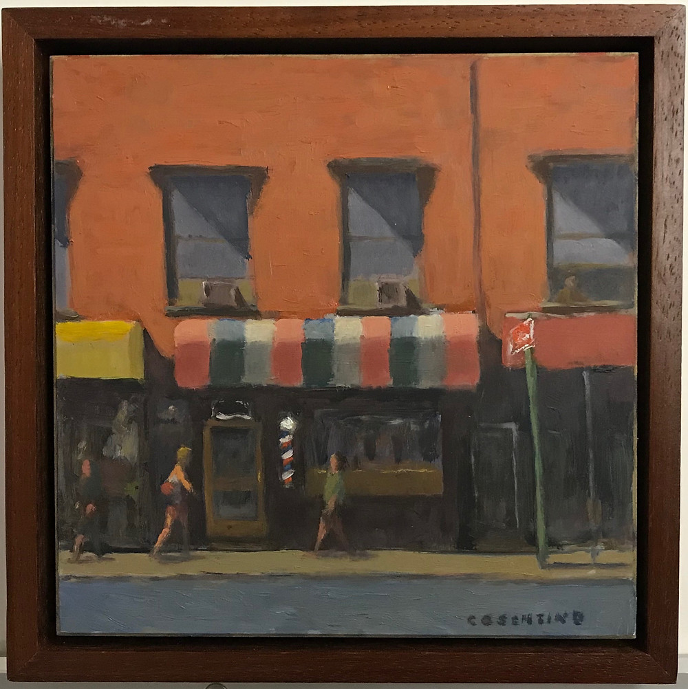 """""""Barbershop"""" 8x8 oil on panel in float frame by Steven M. Cosentino $650.00"""