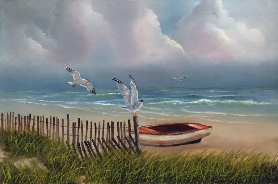 Coastal Seagulls by H. Hargrove