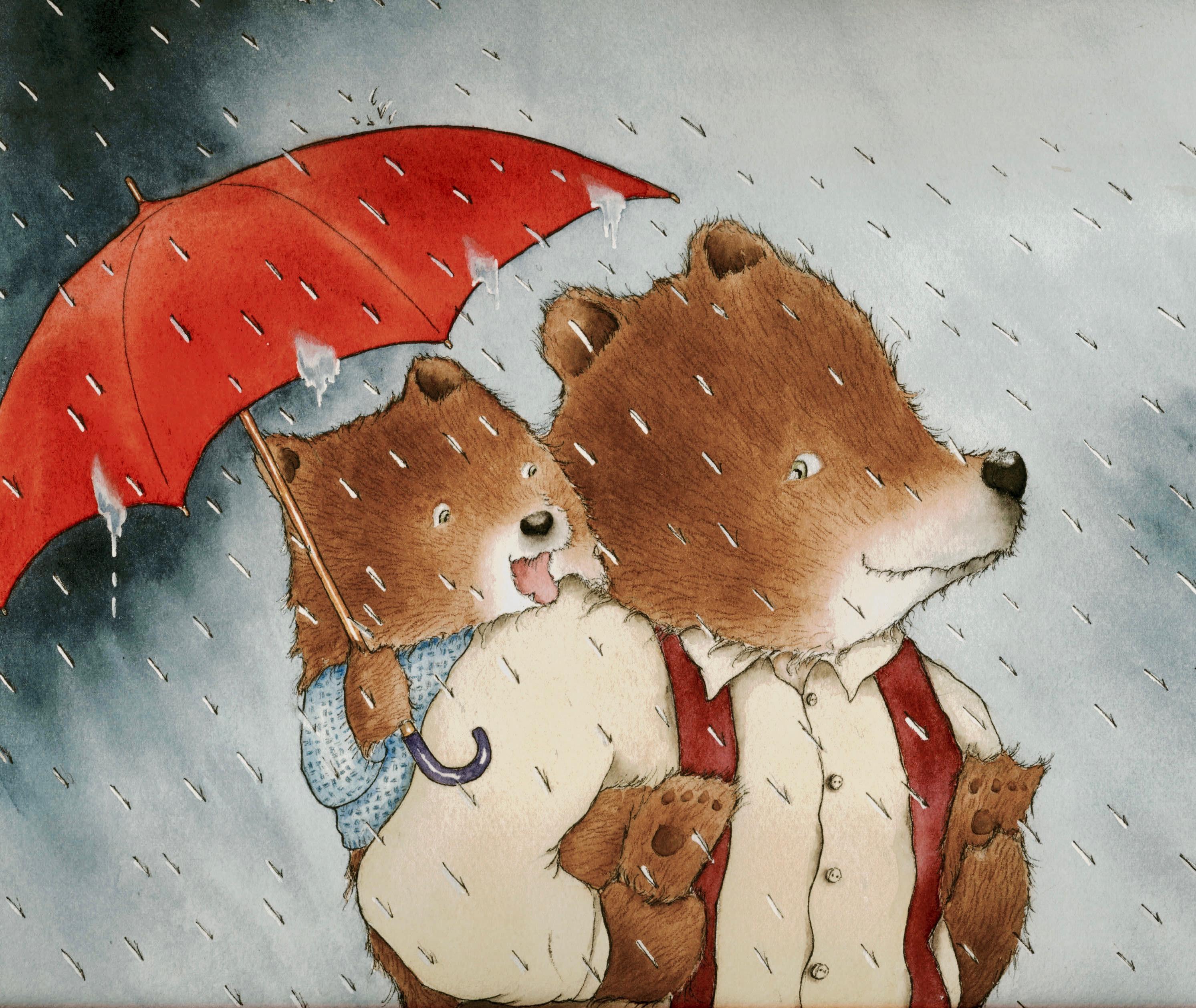 Little Brown Bear in the Rain