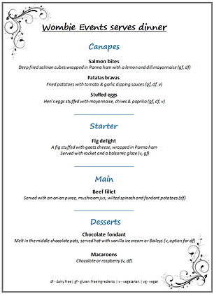 Bespoke menu planning dinner for 2 dinner party