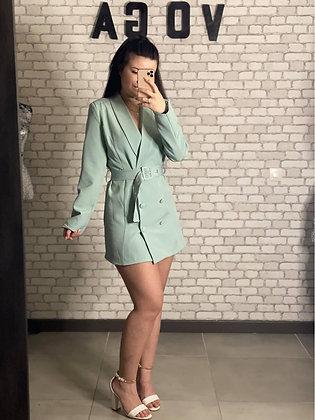 Robe blazer vert d'eau