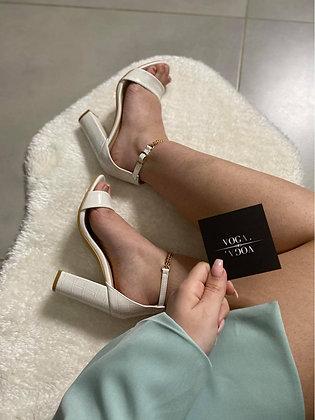 Sandale à talons blanc chaine