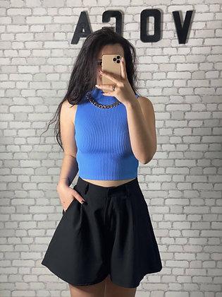 Crop top chaine bleu