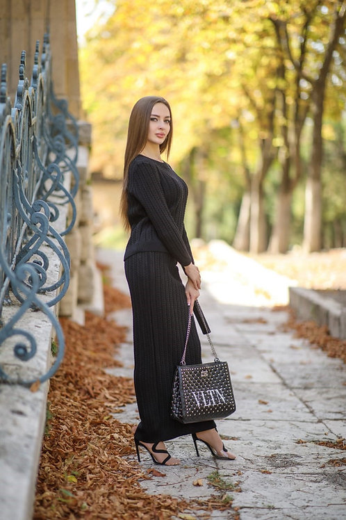 Black Knitted Top and Skirt