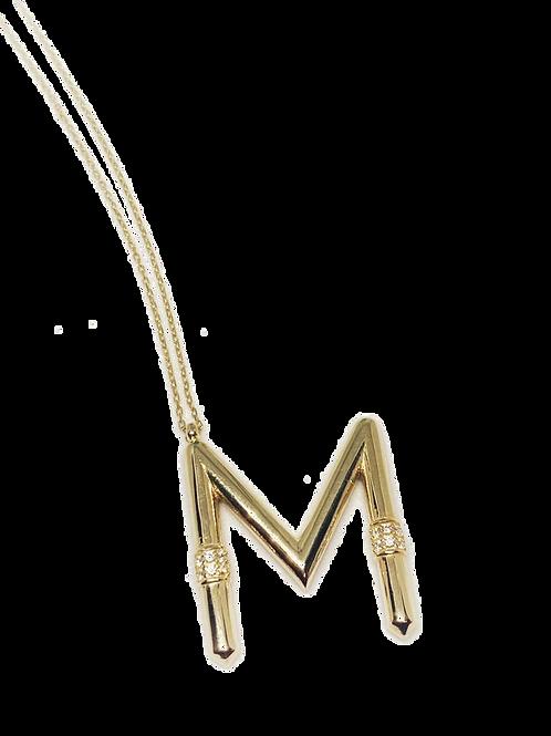 Harfli Kolye M Harfi 14 Altın