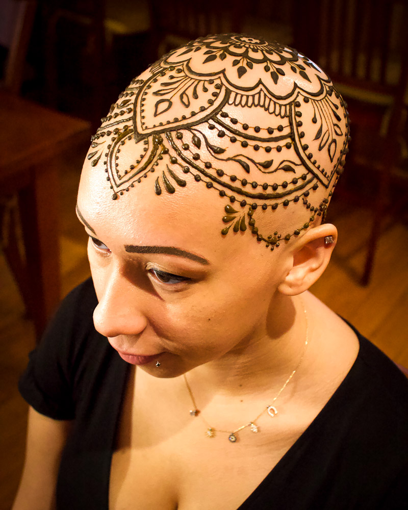 Henna crown, henna on a head.