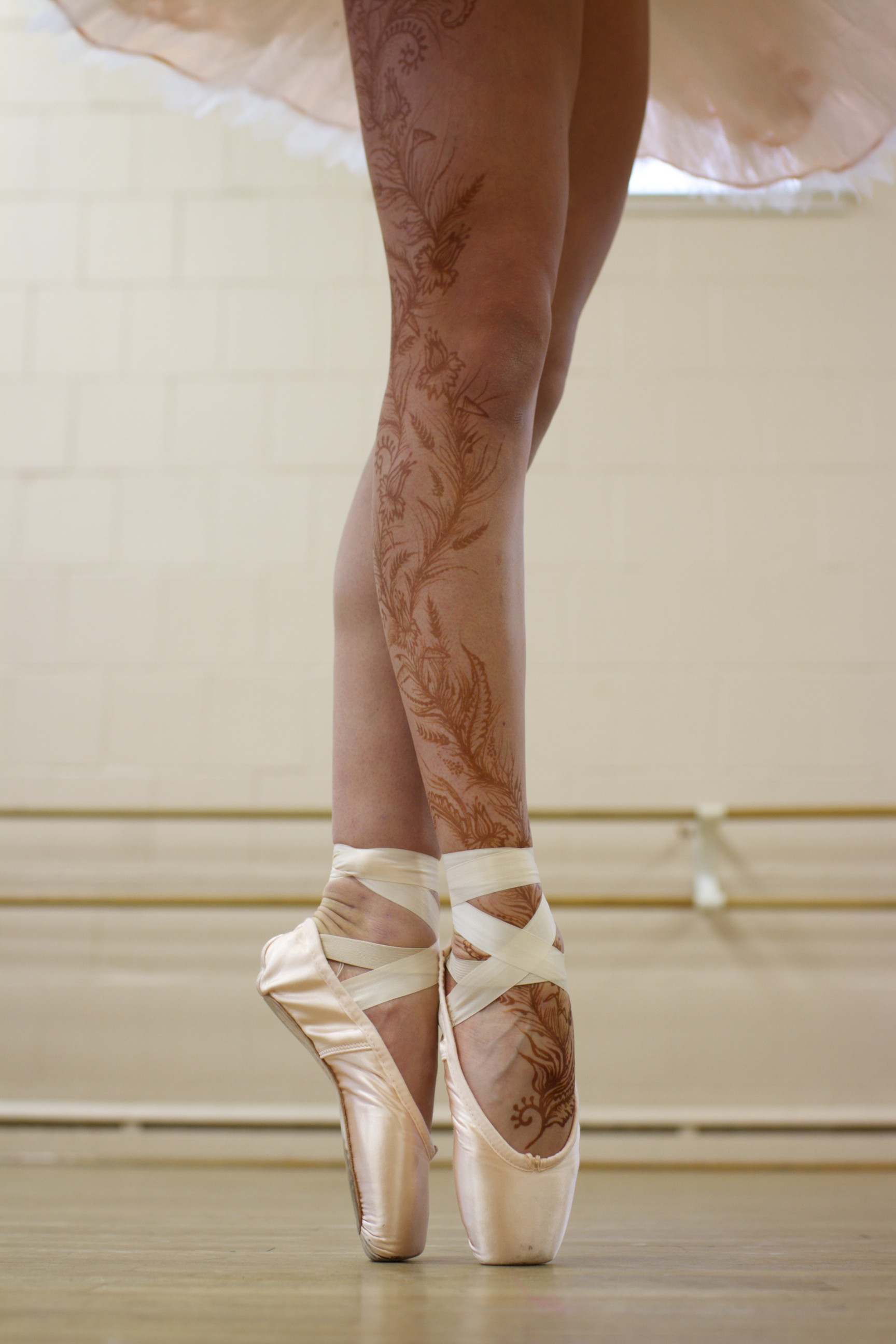 Henna on the leg of a ballerina