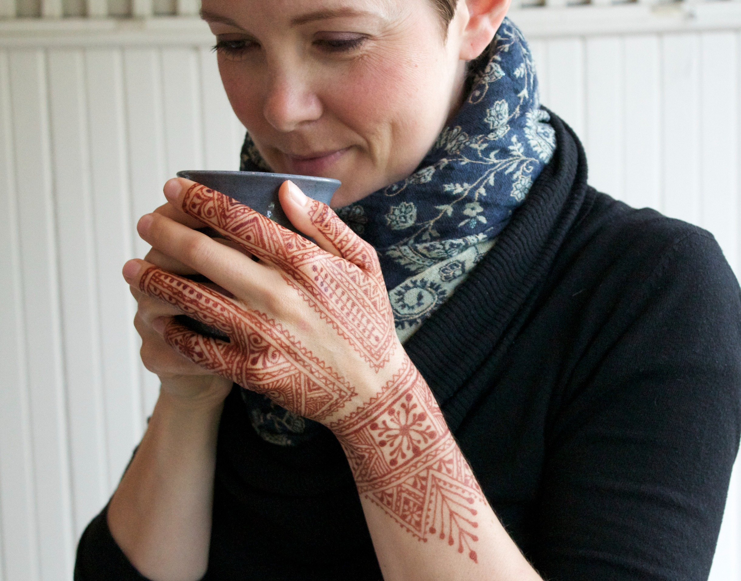 Woman with Moroccan henna.