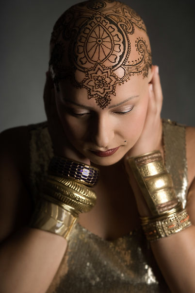 A woman with a henna crown in Toronto.