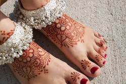 Bridal henna on the feet.