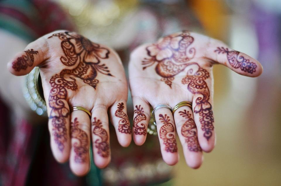 Bridal henna on palms.