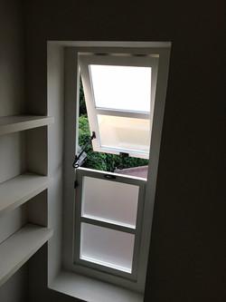 Accoya top opening bathroom window.