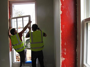 Fitting double glazed sash windows.