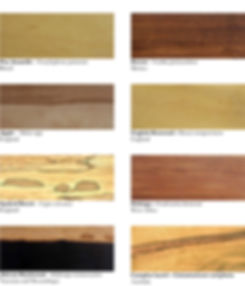 Different wood types.