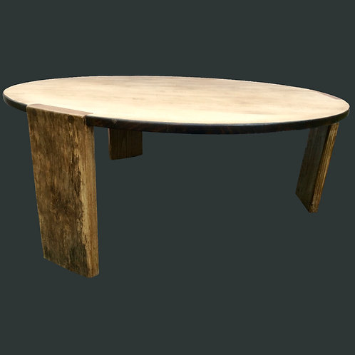 Solid oak round coffee table with spalted ash legs.