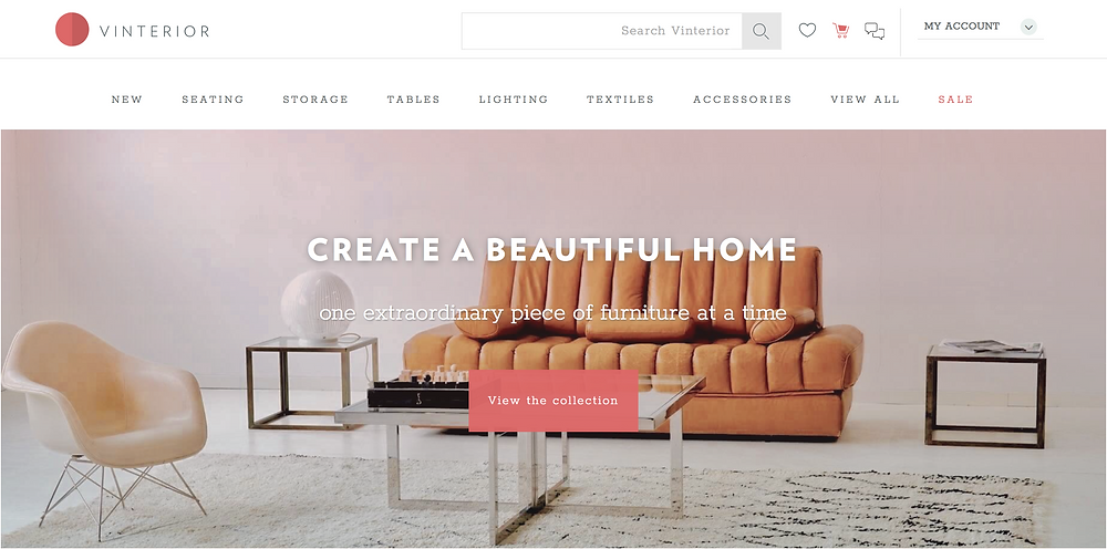 Vinterior online furniture store website link.