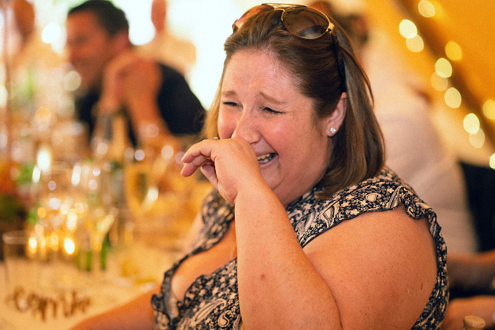 This was a guest laughing until she cried through what was the most hilarious grooms speech. I've never laughed so hard
