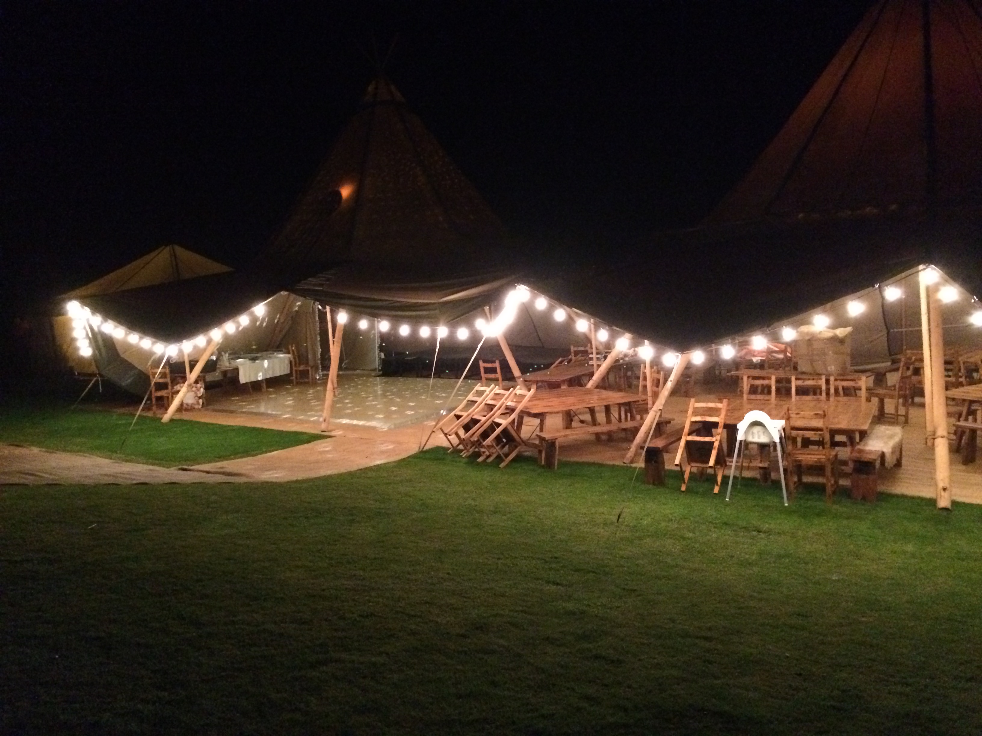 Tipi venue at night