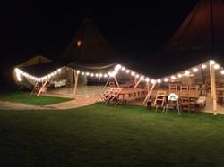 Tipi venue at night