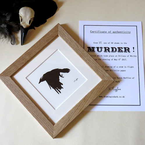 Limited edition original drawing for the murder exhibition of a crow in flight