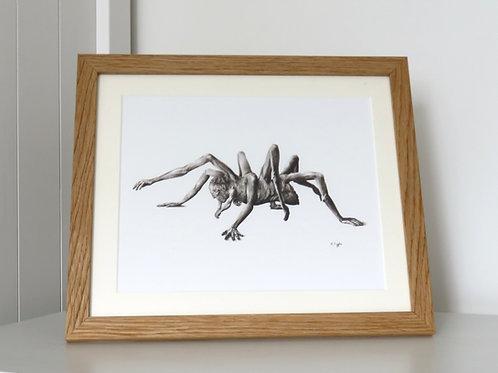 framed horror dark fantasy black and white monster print