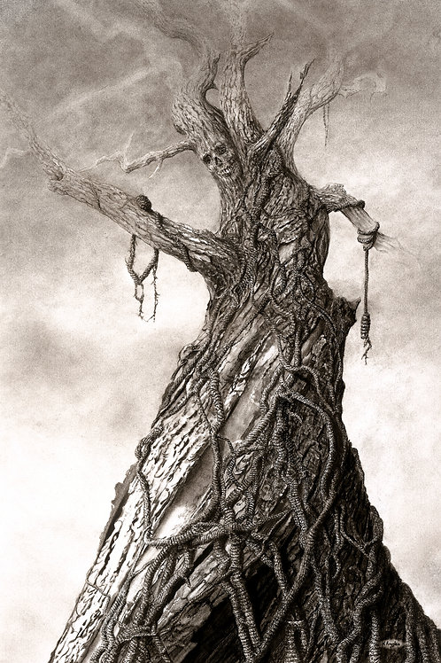 Black and white pencil drawing of a hanging tree with human skull embedded in the trunk