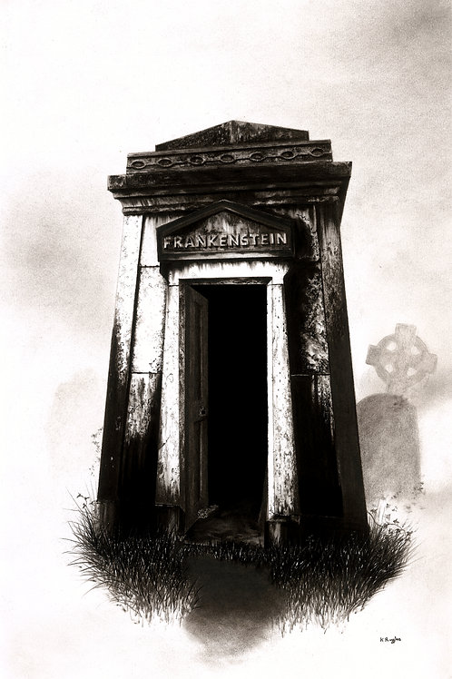 Fine art illustration for a horror story based on Frankensteins monster featuring the family tomb