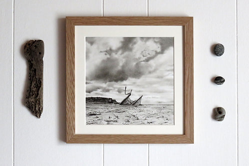 Charcoal seascape view of the admiral van tromp at saltwick bay in whitby