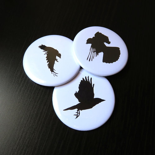 set of three compact handbag mirrors with flying crows in black on white