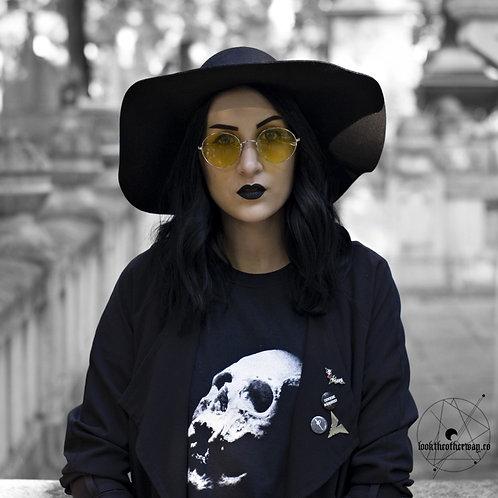 Female Model wearing gothic skull tshirt in black cotton for unisex