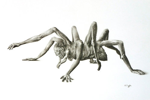 spider man monster drawing in charcoal pencil on white paper arms as legs