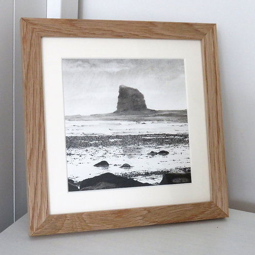 Charcoal drawing of Black Nab rocks near Whitby at Saltwick Bay at low tide