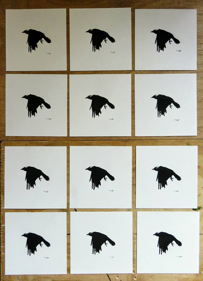 Crow drawings, each an original charcoal drawing