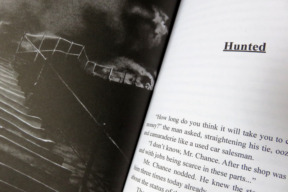 Tales in Sombre Tones book opened out, showing the illustration for Hunted and story text.