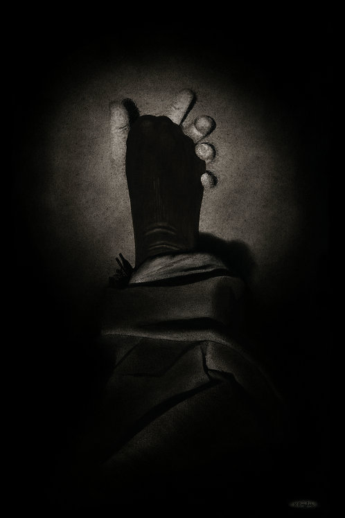 Hand grabbing a foot in a sock nightmare art in charcoal pencil