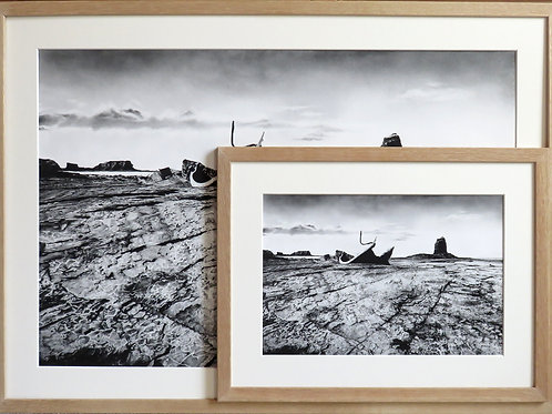 Dramatic seascape with the shipwreck of the Admiral Van Tromp and black nab in the background worked in charcoal pencil