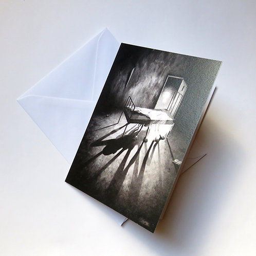 single horror dark fantasy greeting card in black and white portrait format