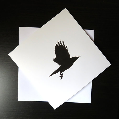 Rook flying picture on a square white greeting card, black print