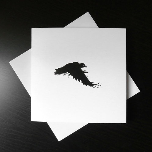 black and white greeting card with a picture of a crow in flight from an original drawing