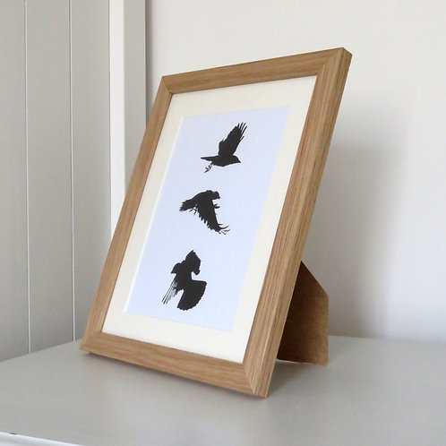 three flying crows framed in oak from original charcoal drawings