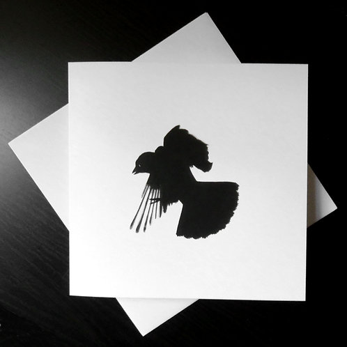 Drawing of a jackdaw flying printed on a square white greeting card