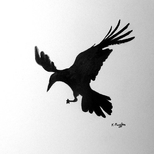 side view drawing of a rook in flight with wings up and feet down