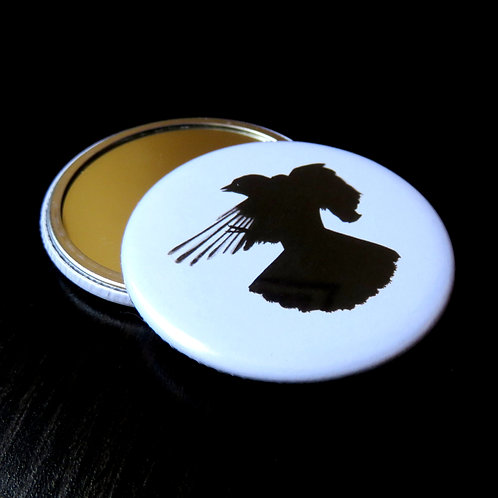 single black and white compact makeup mirror with a bird in flight