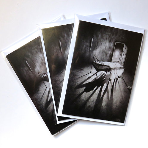 pack of three monster horror greeting cards in monochrome black and white