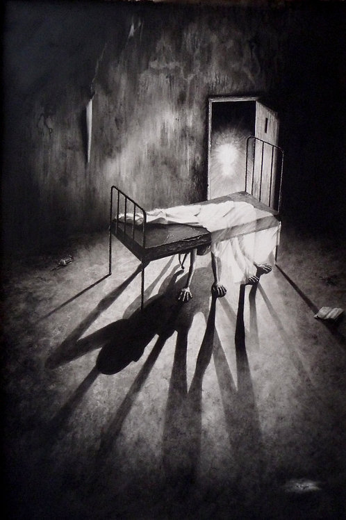 shadow drawing of a monster hiding under a metal framed bed in an asylum