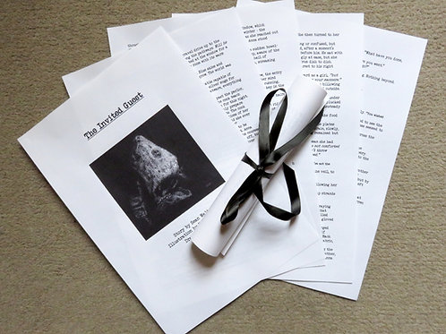 printed horror short story with illustration gothic gift tied with black ribbon